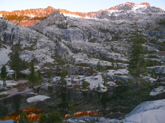 Alpenglow on Boulder Creek Lake basin